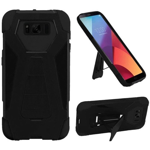 Insten For Samsung Galaxy S8 Active Black Hard Silicone Hybrid Case Cover w/stand