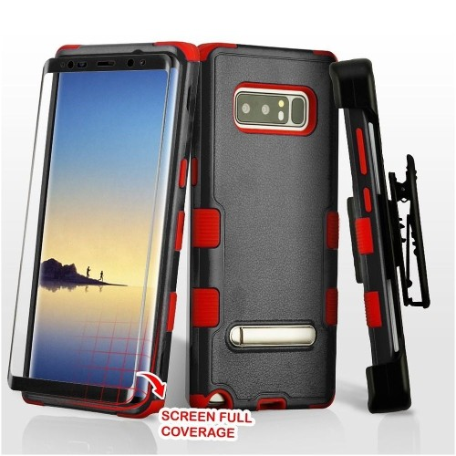 Insten For Samsung Galaxy Note 8 Black Red Hard TPU Hybrid Plastic Case Cover Holster