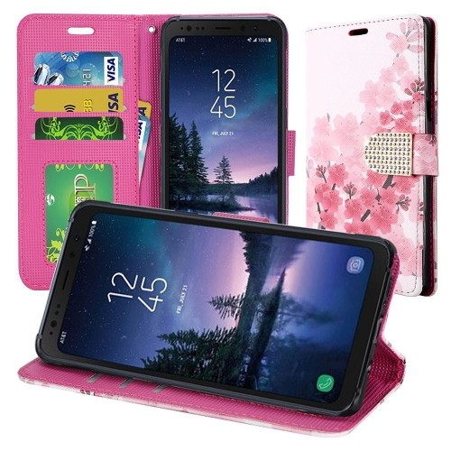 Insten For Samsung Galaxy S8 Active Multi-Color Cherry Blossom Leather Case Cover