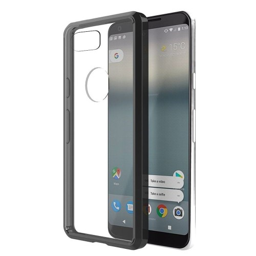 Insten For Google Pixel 2 XL Clear Black Fusion Candy Acrylic TPU Plastic Case