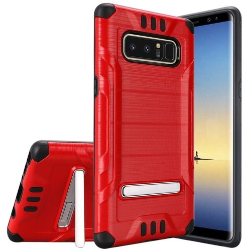 Insten For Samsung Galaxy Note 8 Red Black Hard TPU Hybrid Shockproof Case w/stand