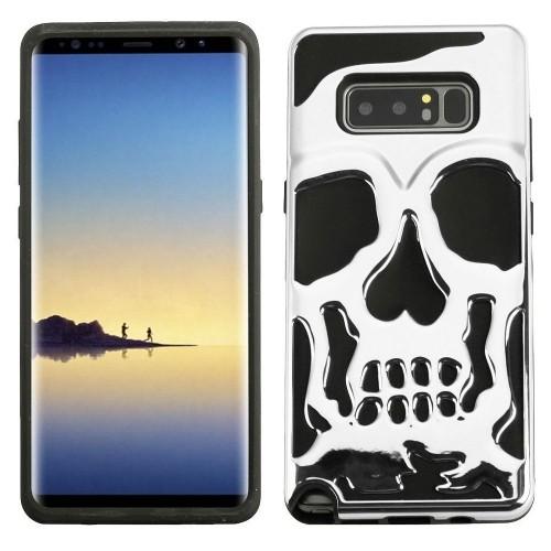 Insten For Samsung Galaxy Note 8 Silver Black Skullcap Hard TPU Hybrid Plastic Case
