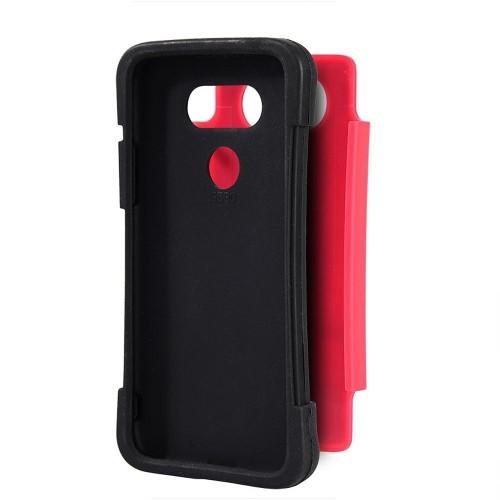 Insten For LG G5 Black Hot Pink Grippy Hard TPU Hybrid Plastic Case
