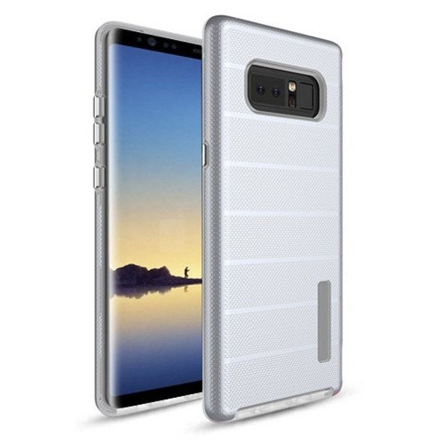 Insten For Samsung Galaxy Note 8 Silver White Dots Textured Fusion Hard TPU Hybrid Case