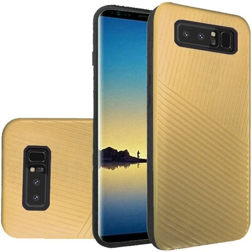 Insten For Samsung Galaxy Note 8 Gold Embossed Lines Hard TPU Hybrid Plastic Case
