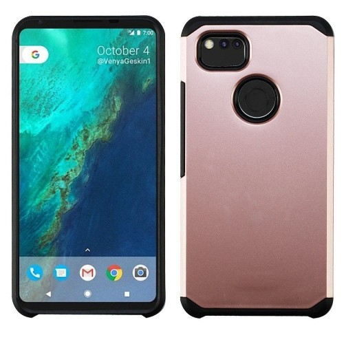 Insten For Google Pixel 2 XL Rose Gold Black Hard TPU Hybrid Plastic Case Cover