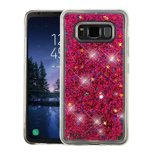 Insten For Samsung Galaxy S8 Active Hot Pink Quicksand Glitter Hard Hybrid Case Cover