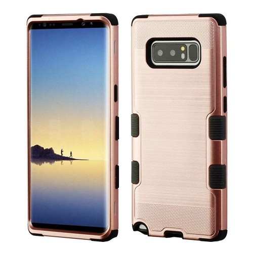 Insten For Samsung Galaxy Note 8 Rose Gold Black Tuff Hard TPU Hybrid Brushed Case