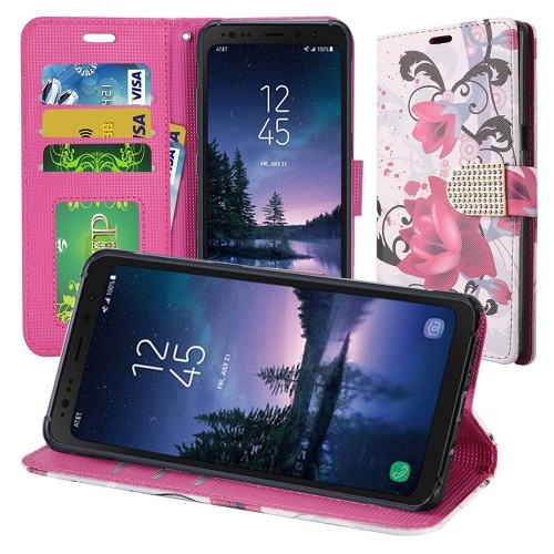 Insten For Samsung Galaxy S8 Active Multi-Color Lily Leather Fabric Case Cover w/stand