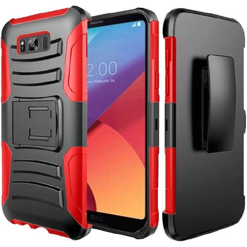 Insten For Samsung Galaxy S8 Active Black Red Hard Silicone Hybrid Case w/stand Holster
