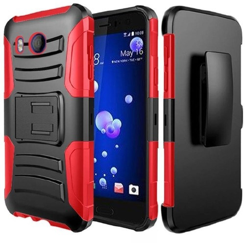 Insten For HTC U11 Black Red Hard Silicone Hybrid Rubberized Case w/stand Holster
