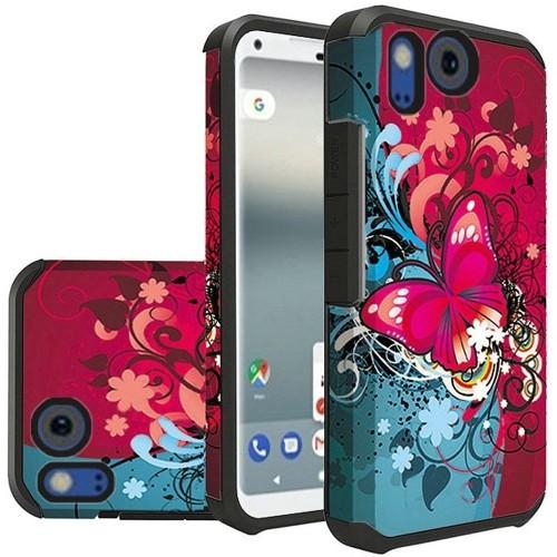 Insten For Google Pixel 2 XL Red Blue Butterfly Bliss Hard TPU Hybrid Case