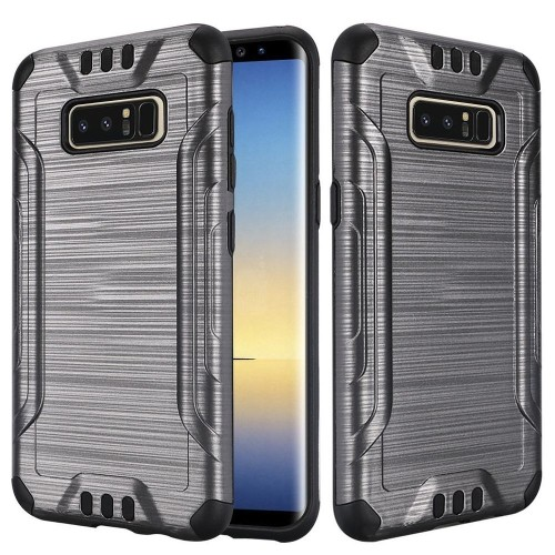 Insten For Samsung Galaxy Note 8 Gray Black Hard TPU Hybrid Brushed Case Cover