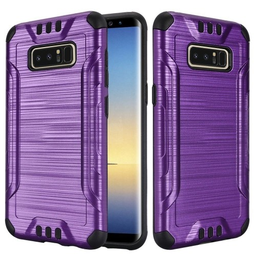 Insten For Samsung Galaxy Note 8 Dark Purple Black Hard TPU Hybrid Brushed Case Cover