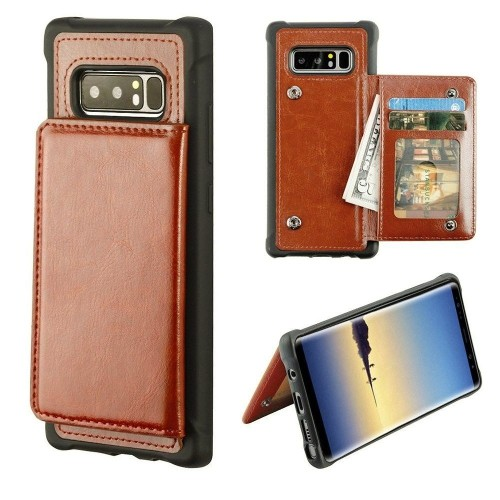 Insten For Samsung Galaxy Note 8 Brown Executive Protector Leather Case Cover w/stand