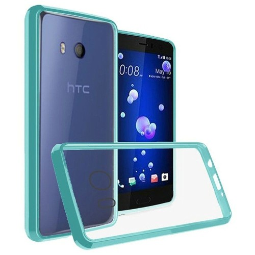 Insten For HTC U11 Clear Teal Bumper Hard TPU Plastic Case