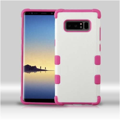 Insten Fitted Soft Shell Case for Samsung Galaxy Note 8 - Hot Pink;White