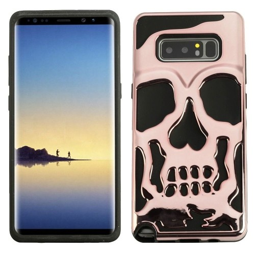 Insten For Samsung Galaxy Note 8 Rose Gold Black Skullcap Hard TPU Hybrid Case Cover
