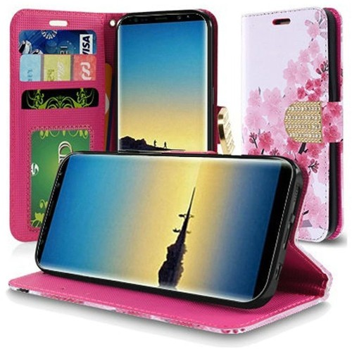 Insten For Samsung Galaxy Note 8 Pink Cherry Blossom Leather Fabric Case w/stand
