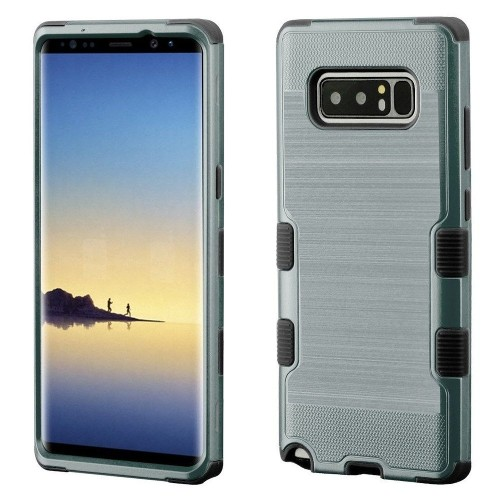 Insten For Samsung Galaxy Note 8 Grayish Blue Black Tuff Hard TPU Hybrid Brushed Case
