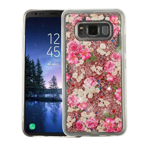 Insten For Samsung Galaxy S8 Active Pink Roses Quicksand Glitter Hard TPU Hybrid Case