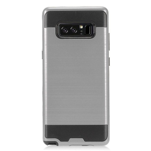 Insten For Samsung Galaxy Note 8 Gray Black Hard Hybrid Brushed Case