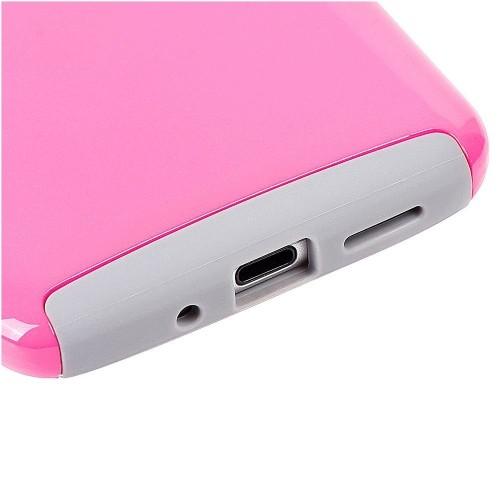 Insten For LG G5 Hot Pink Gray Glossimer UV Coating Hard TPU Hybrid Plastic Case Cover