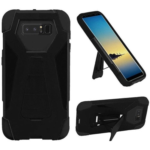Insten For Samsung Galaxy Note 8 Black Hard Silicone Hybrid Plastic Case w/stand