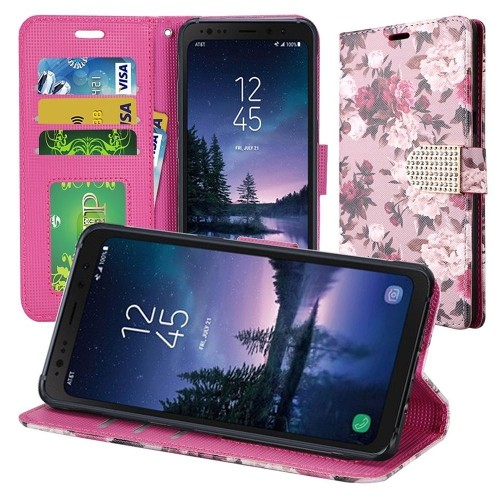 Insten For Samsung Galaxy S8 Active Multi-Color Roses Leather Fabric Case w/stand
