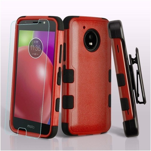 Insten For Motorola Moto E4 Red Black Tuff Hard TPU Hybrid Plastic Case Holster