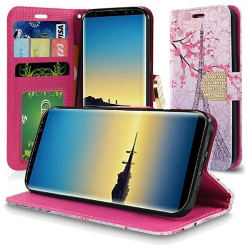 Insten For Samsung Galaxy Note 8 Pink Vintage Eiffel Tower Leather Case Cover w/stand