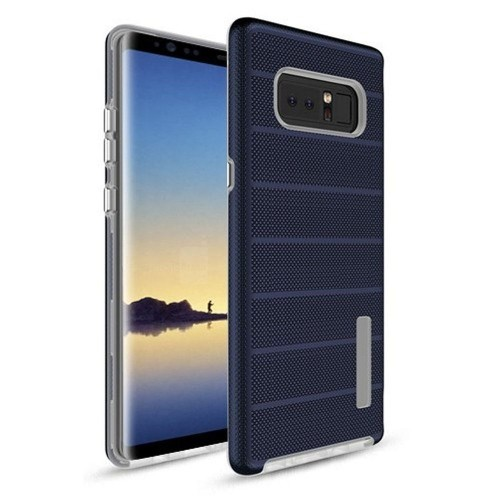 Insten For Samsung Galaxy Note 8 Blue White Dots Textured Fusion Hard TPU Hybrid Case