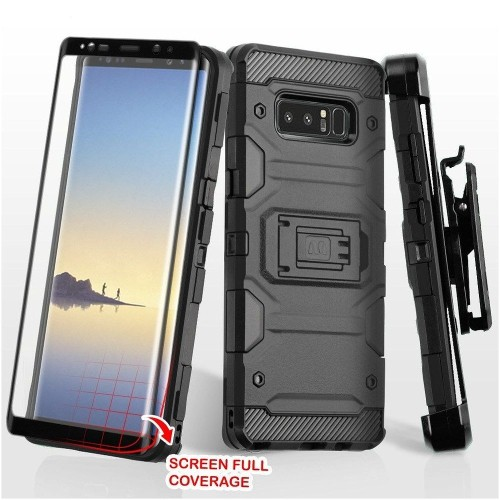 Insten For Samsung Galaxy Note 8 Black Hard TPU Hybrid Case Cover w/stand Holster