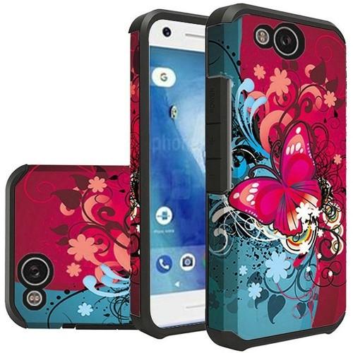 Insten For Google Pixel 2 Red Blue Butterfly Bliss Hard TPU Hybrid Case Cover