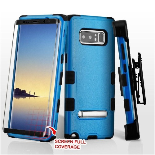 Insten For Samsung Galaxy Note 8 Blue Black Hard TPU Hybrid Plastic Case Holster