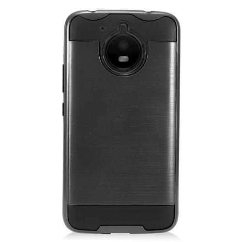 Insten For Motorola Moto E4 Plus Black Hard TPU Hybrid Brushed Case