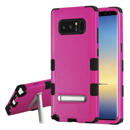 Insten For Samsung Galaxy Note 8 Hot Pink Black Tuff Hard TPU Hybrid Case w/stand