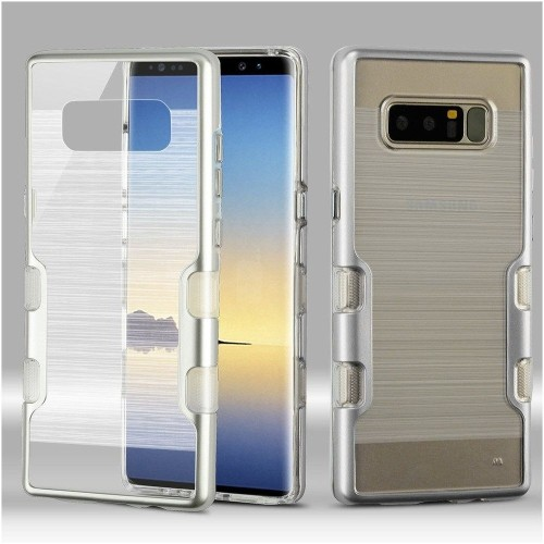 Insten For Samsung Galaxy Note 8 Clear Silver Tuff Hard TPU Hybrid Brushed Case