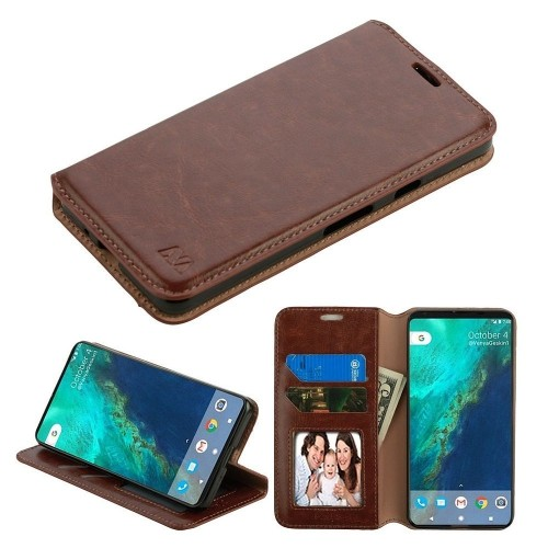 Insten For Google Pixel 2 Brown Leather Fabric Case Cover w/stand w/card slot