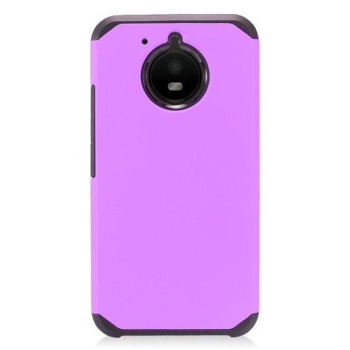 Insten Fitted Hard Shell Case for Motorola E4 - Black;Purple