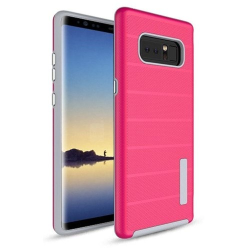 Insten For Samsung Galaxy Note 8 Hot Pink Gray Dots Textured Fusion Hard Hybrid Case
