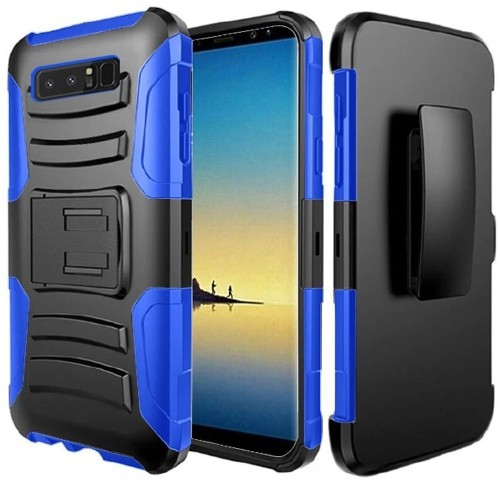 Insten For Samsung Galaxy Note 8 Black Dark blue Hard Hybrid Case w/stand Holster