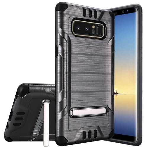 Insten For Samsung Galaxy Note 8 Gray Black Hard TPU Hybrid Shockproof Case w/stand