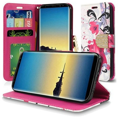 Insten For Samsung Galaxy Note 8 Purple White Lily Leather Fabric Case Cover w/stand