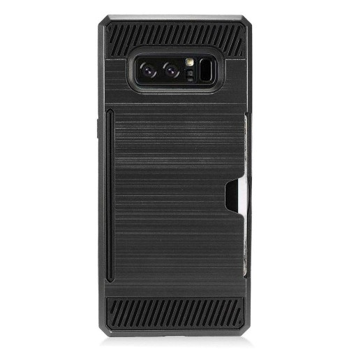 Insten For Samsung Galaxy Note 8 Black Hard TPU Hybrid Brushed Case Cover w/card slot