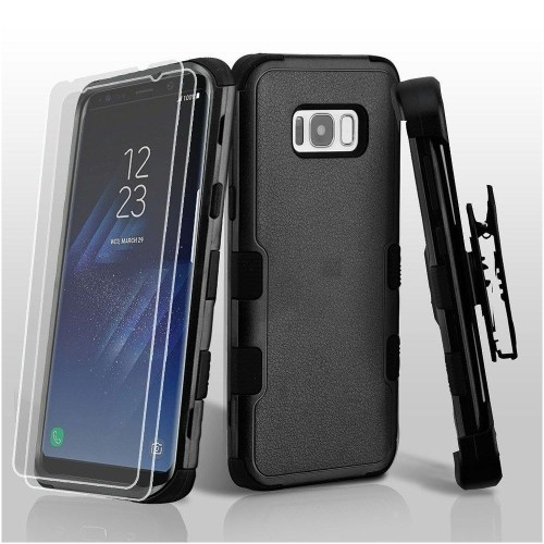 Insten For Samsung Galaxy S8 Plus Black Hard TPU Hybrid Plastic Case Cover Holster