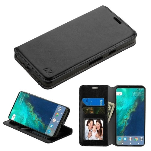 Insten For Google Pixel 2 Black Leather Fabric Case Cover w/stand w/card slot