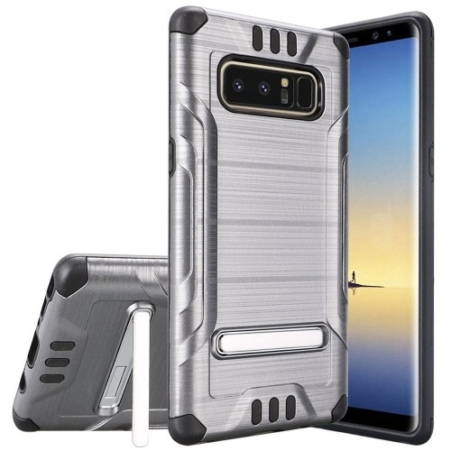 Insten For Samsung Galaxy Note 8 Silver Black Hard TPU Hybrid Shockproof Case w/stand