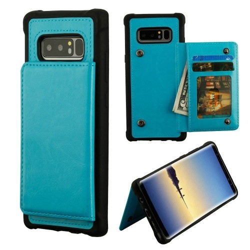 Insten For Samsung Galaxy Note 8 Blue Black Executive Protector Leather Case w/stand