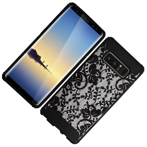Insten For Samsung Galaxy Note 8 Black Lace Hard TPU Hybrid Plastic Case Cover